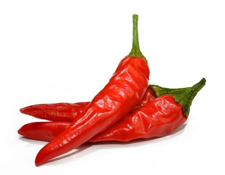 cayenne: Red hot chilli peppers isolated on white background  Stock Photo