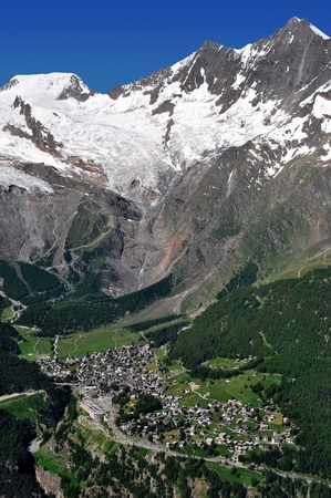 wallis: view of one of the most popular ski resorts in Europe - Saas Fee, Switzerland  Stock Photo