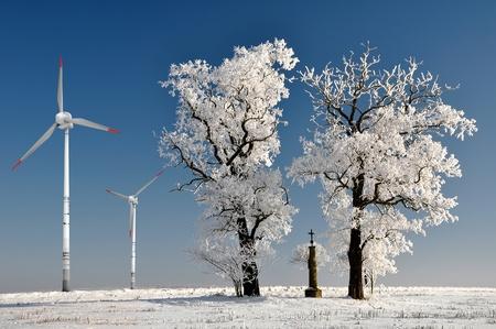 wintrily: Albero di inverno con turbina eolica Archivio Fotografico
