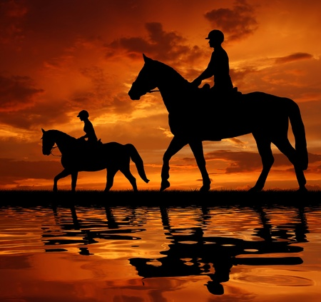 red horse: silhouette of a riders on a horse