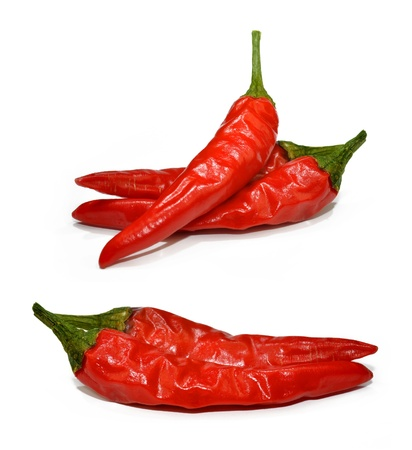 jalapeno pepper: Red hot chilli peppers isolated on white background  Stock Photo