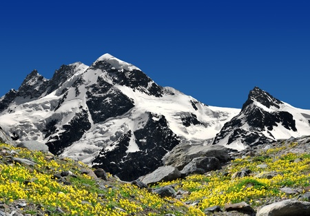 traditional climbing: Beautiful mountain Breithorn and Klein Matterhorn - Swiss alps  Stock Photo