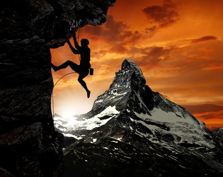 adventure sports: climbers in the Swiss Alps  Stock Photo
