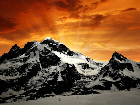Beautiful mountain Breithorn and Klein Matterhorn in the sunset  photo