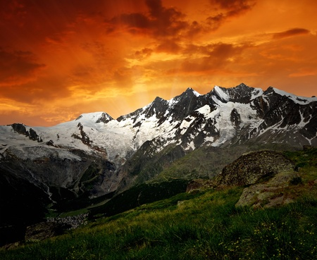 traditional climbing: sunset above the Mischabel group - Swiss alps