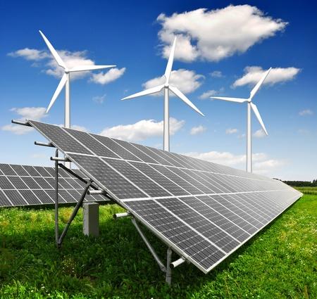 wind power plant: solar energy panels and wind turbine