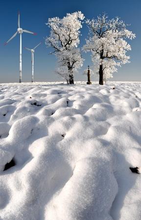 wintrily: Albero invernale con turbina eolica