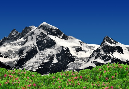 european alps: Beautiful mountain Breithorn and Klein Matterhorn