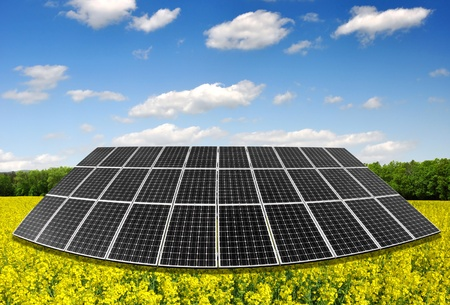solar energy panels in rapeseed field photo