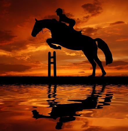 springpaard: silhouet van een ruiter op een springpaard Stockfoto