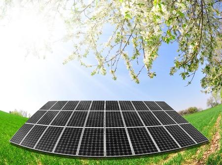 solar cells: Spring landscape and solar panel
