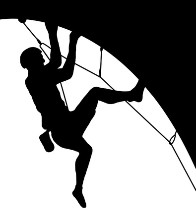 용감: 암벽 등반의 실루엣 스톡 사진