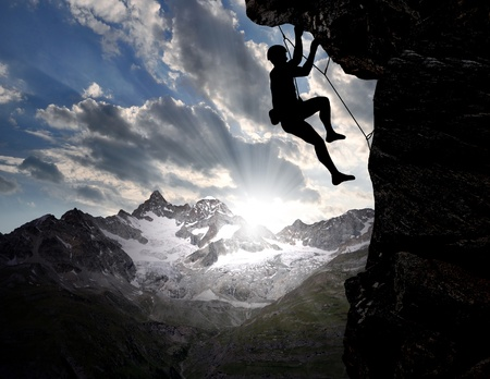 challenges: climbers in the Swiss Alps  Stock Photo