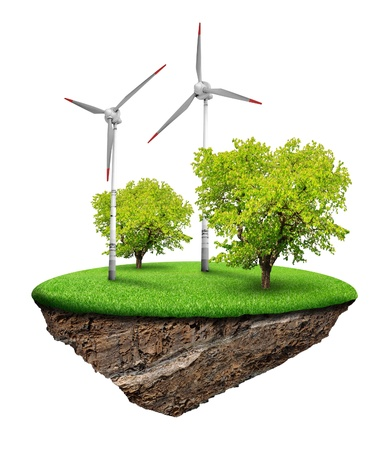 Little island with tree and wind turbines Stock Photo - 12724946