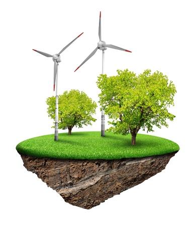 Alternativ: Little island with tree and wind turbines