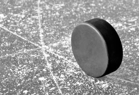 puck: black hockey puck on ice rink