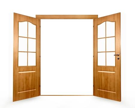 puerta abierta: Abra la puerta sobre un fondo blanco