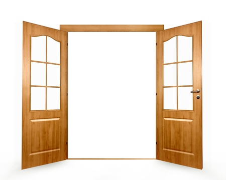 Open door on a white background  Stock Photo - 12724733