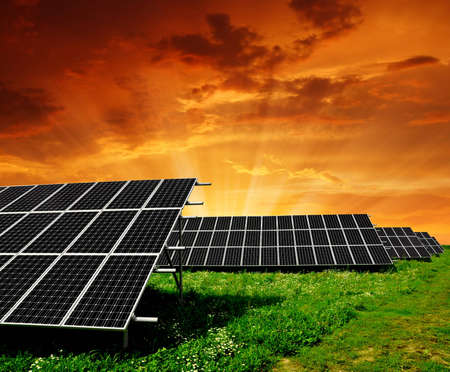 silicium: Solar energy panels in the setting sun  Stock Photo