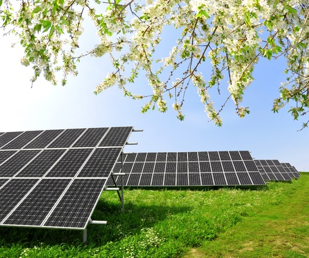 Spring landscape and solar panel