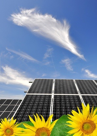 Solar energy panels against sunny sky  photo