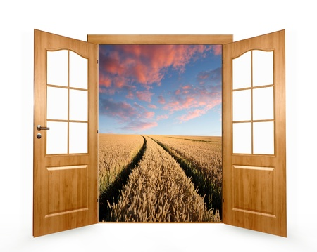 Open the door to the wheat field photo