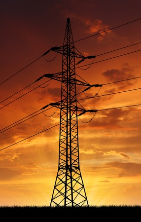 power line in the sunset photo