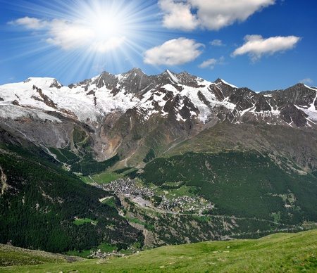 Saas Fee: view of one of the most popular ski resorts in Europe - Saas Fee, Switzerland  Stock Photo
