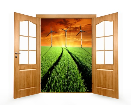 Open the door to the wheat field with wind turbine Stock Photo - 13007372