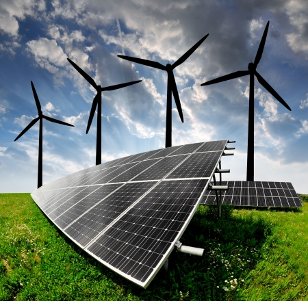 solar energy panels and wind turbine  Stock Photo - 13007691