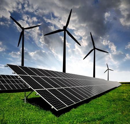 ahorro energia: paneles de energía solar y turbinas de viento