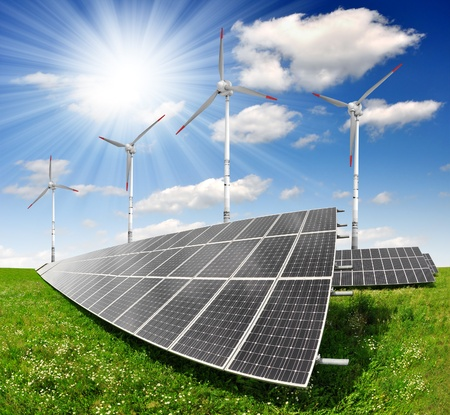 solar energy panels and wind turbine  Stock Photo - 13114805