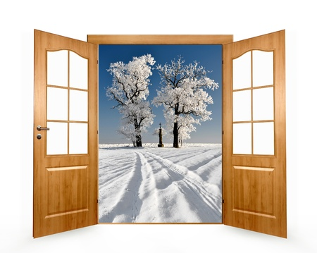 the door open in the winter landscape Stock Photo - 13114760