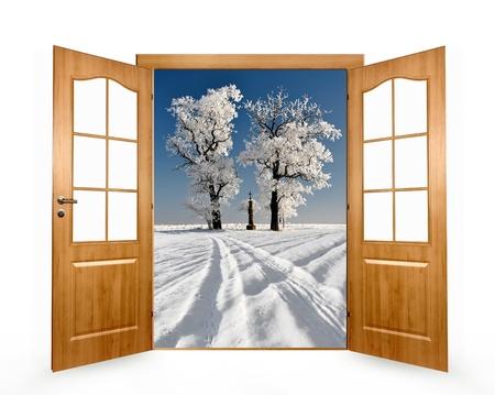 the door open in the winter landscape Stock Photo - 13114760