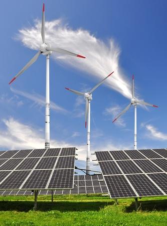 solar panels and wind turbine  photo