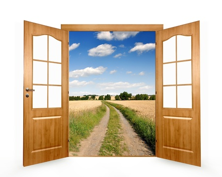 Open the door to way the field  Stock Photo - 13187275
