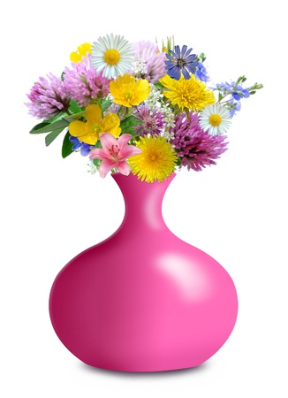 meadow flowers in vase isolated on white background Stock Photo - 13187176