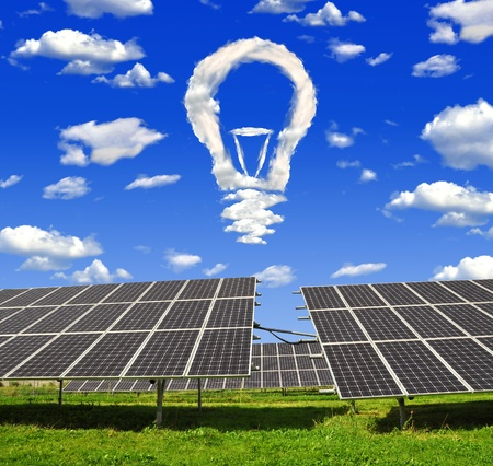 Bulb from clouds above the solar energy panels Stock Photo - 13294741