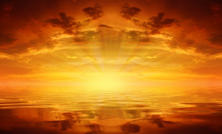 照らす: 海に沈む夕日