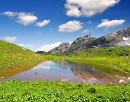 Lago di Spinale - Dolomites Italy  photo