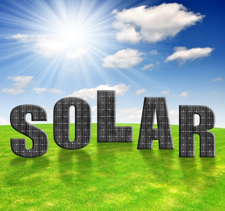 Solar energy panels against sunny sky
