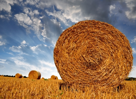 haystack: Straw bales on farmland with blue cloudy sky