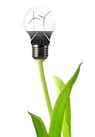 creative industries: Bulb with of solar panel and wind turbines  Stock Photo