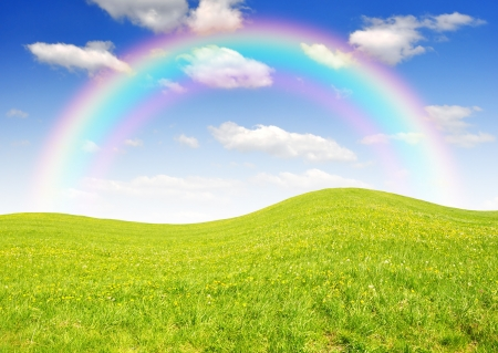 clearing: Spring landscape with rainbow
