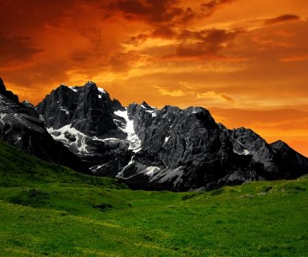 sunset over the mountain Brenta-Dolomites Italy photo