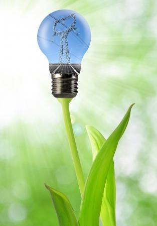 torres de alta tension: la línea de alimentación en el bulbo Foto de archivo