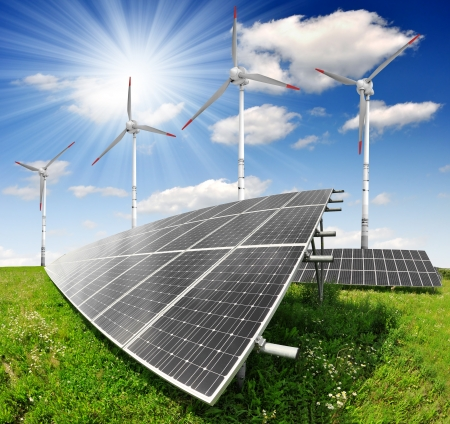 alternative energy: solar energy panels and wind turbine