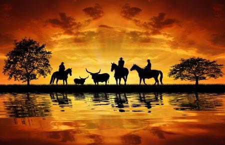 rancho: Silueta de los vaqueros con caballos en la puesta de sol