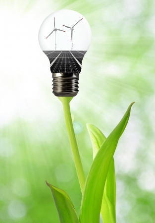 wind energy: Bulb with of solar panel and wind turbines  Stock Photo