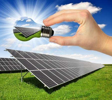 Alternativ: Bulb with of solar panel  Stock Photo